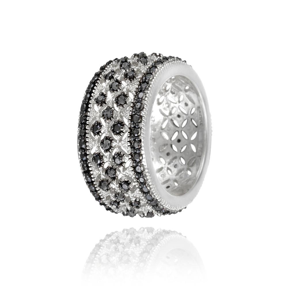 rhodiniert 1 4ct schwarzer diamant filigraner band ring gr e 8 ebay. Black Bedroom Furniture Sets. Home Design Ideas