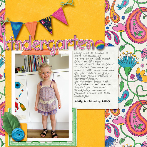 Take a look inside my album to see my Kindergarten layout! #digiscrap #digital #scrapbooking