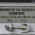 Historic Civil War Monument in Uxbridge, Massachusetts.  The memorial to veterans of the Civil War was dedicated in September 1898.    The monument was added to the National Register of Historic Places in 1984 as a contributing resource to the Uxbridge Common District (NRHP District No. 84002920).