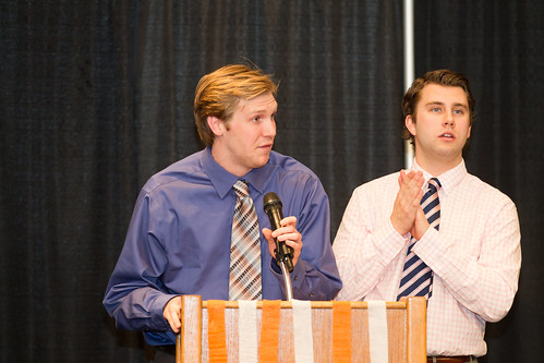 Colin Carson and Spencer Reed give 5th years speech (Apr 3,2014 Snucins)