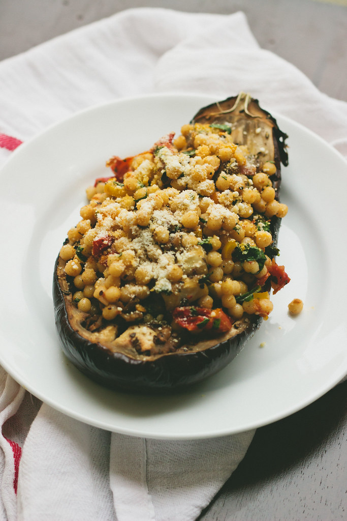 {slow roasted aubergine stuffed with pearl couscous} via chevrons & éclairs