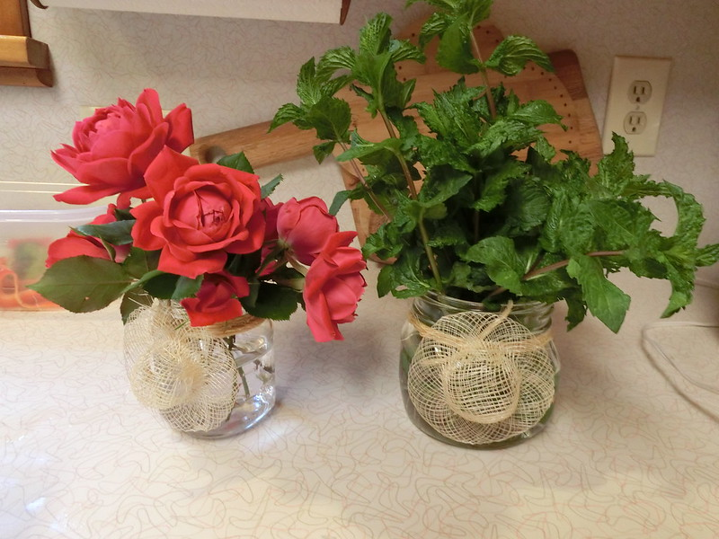 Roses and Mint from the Yard