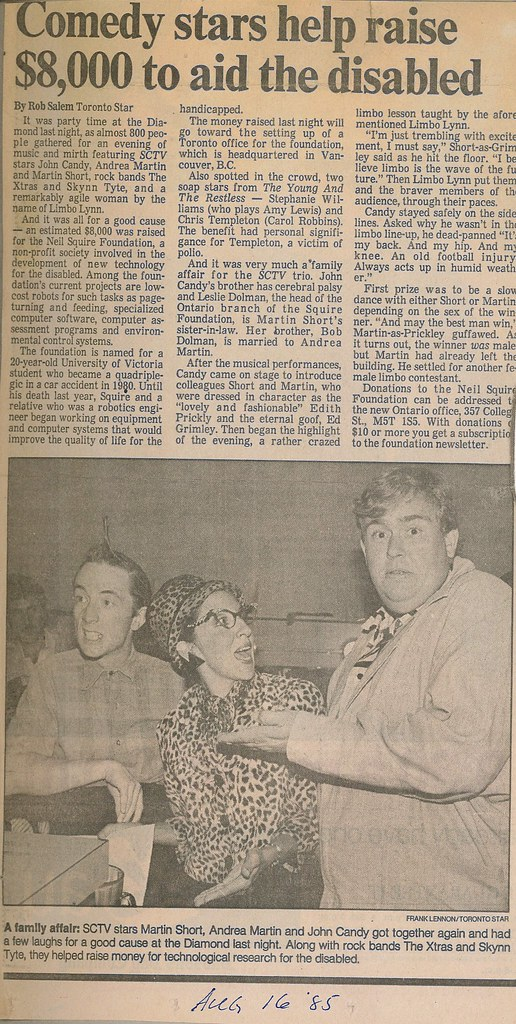 Newspaper clipping from Toronto Star. Headline: Comedy stars help raise $8,000 to aid the disabled.