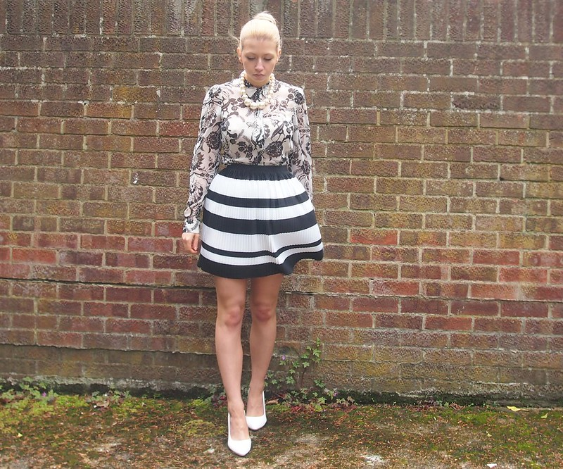 H&M, Monochrome, Pleated, Stripe, Mini Skirt, SS14, Floral, Shirt, Peplum, Miss Selfridge, Print Clash, Mix, How to Wear, Outfit Ideas, Styling Ideas, Boohoo, White Shoes, Court, Sam Muses, UK Fashion Blog, London Style Blogger