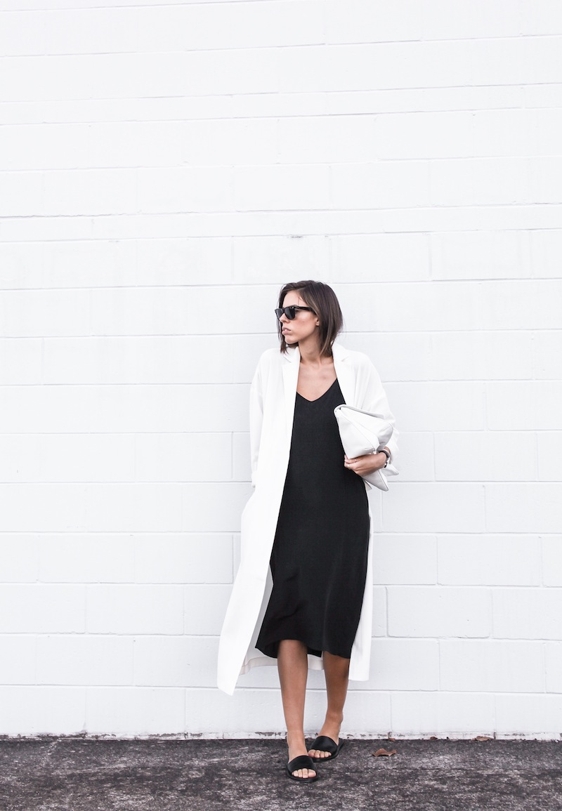 modern legacy blog street style off duty ASOS Duster Coat Common Projects slide sandals Topshop Boutique midi silk cami dress Zara leather clutch monochrome black white blogger balayage hair tuck oversized minimalist (1 of 8)