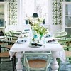 Dining Space Decorating with White Turquoise and Green Colors