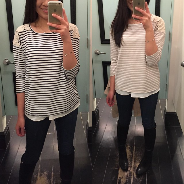 Forever 21 Striped Lace-paneled top