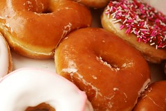 doughnut, glaze, baked goods, food, dish, dessert, cuisine, snack food, danish pastry,