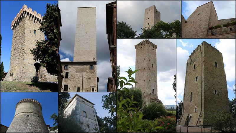 Torre degli Sciri (Perugia), Torre dei Lambardi (Magione), Torre Baglioni (Torgiano), Torre del Castello (Pissignano Alto), Agriturismo Le Due Torri (Spello), Rocca (Gualdo Cattaneo), Torre (Collesecco), Torre (Torri)