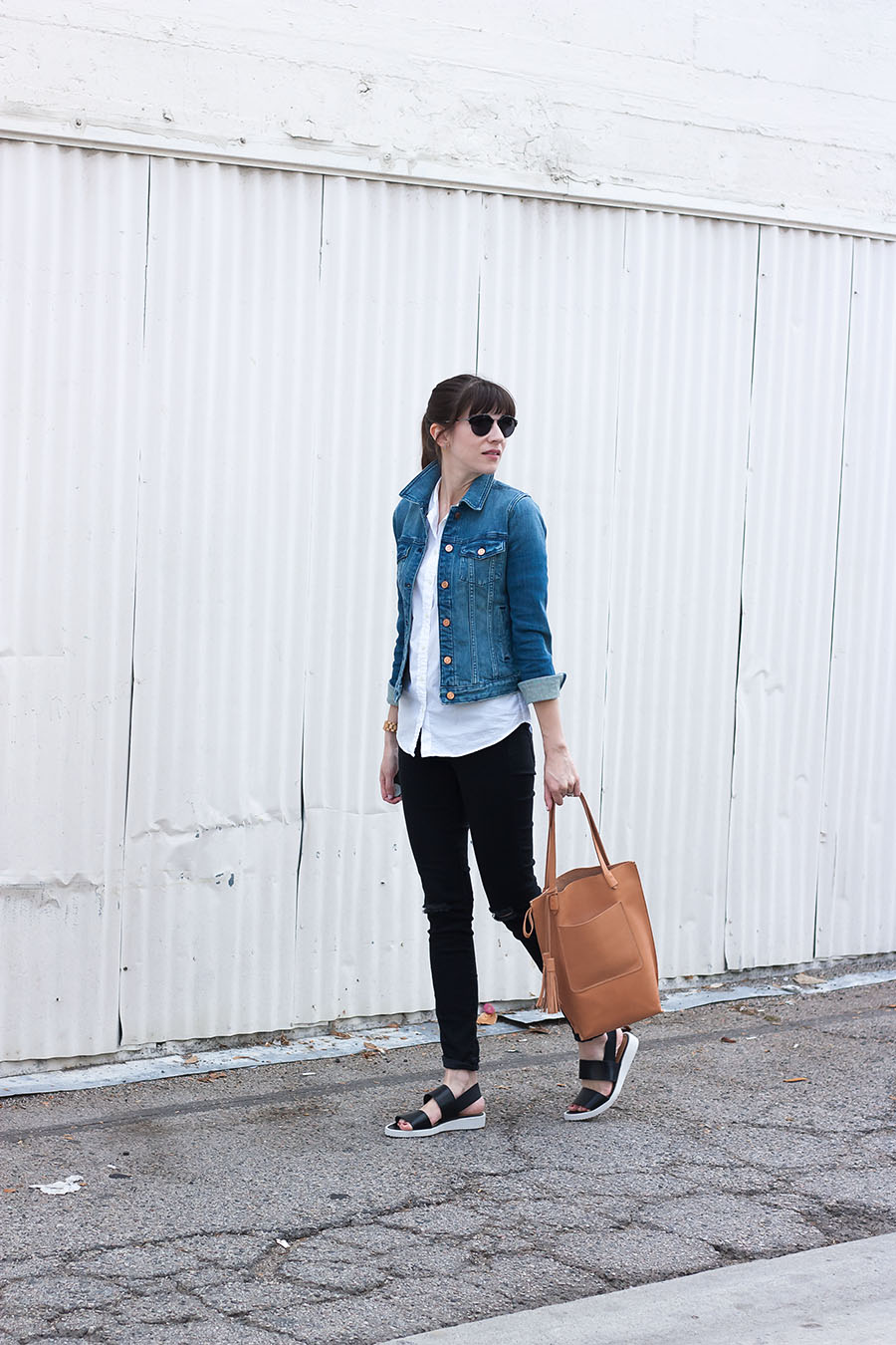 Minimal Style Outfit, Denim Jacket, Tan Leather Tote Bag