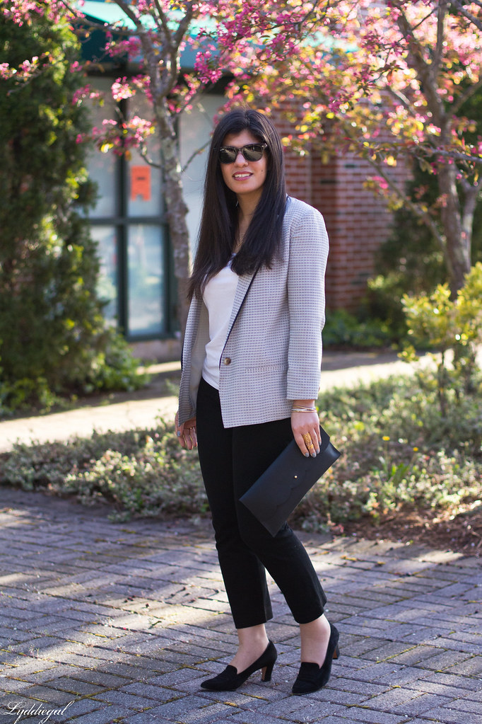 silk blazer, black pants, loafer pumps, scalloped clutch-2.jpg
