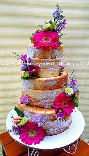 Rustic Naked Wedding Cake by Christian Castillo (keyks by chef chito)