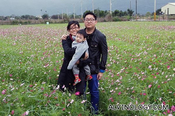 Happy family at a flower field in Hualien, Taiwan