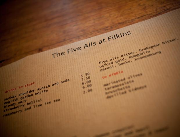 Five Alls Pub Menu