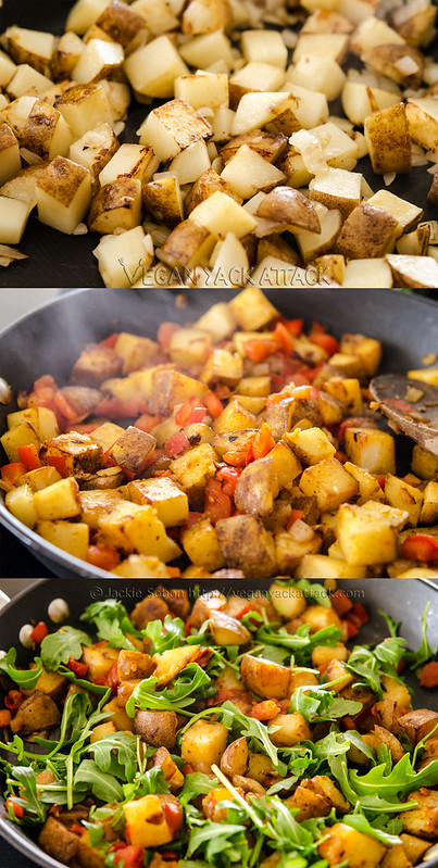 Image collage of making potato hash in a skillet
