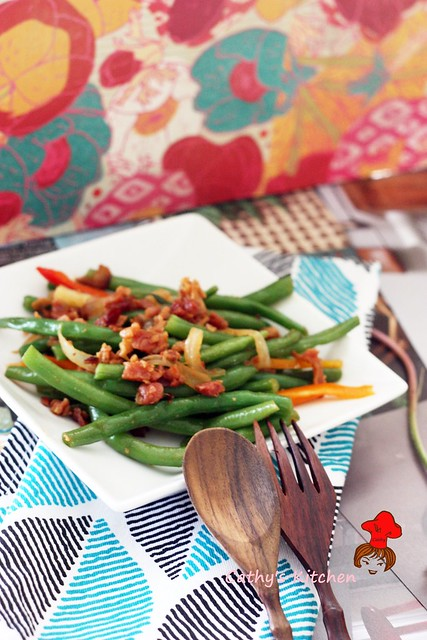 西式培根炒四季豆  Stir green bean with bacon 4