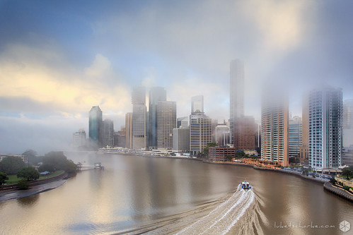 morning winter light cold yellow fog ferry cat sunrise reflections river cityscape brisbane calm catamaran tse rivercat tiltshift