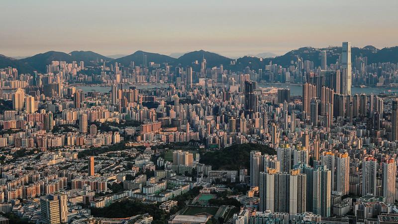 夕景.香港。