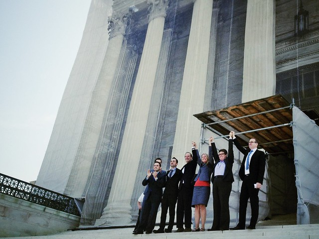 Victory! The plaintiffs in the California Proposition 8 case exiting the Supreme Court today.