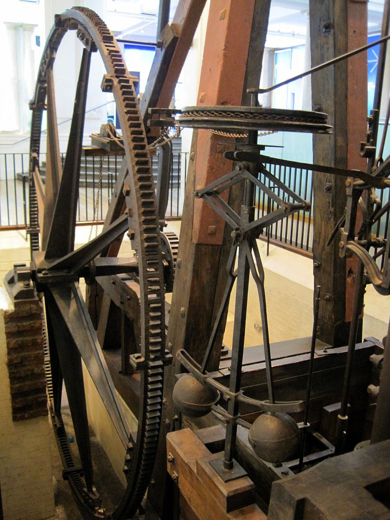A Boulton and Watt rotative steam engine (1788), by Snapshooter46 via Flickr under a CC BY SA-NC license.
