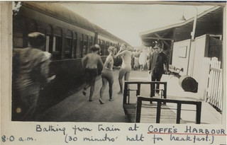 """""""Bathing from train at Coffe's (sic) Harbour, 8am, thirty minutes halt for breakfast"""", December 20th 1934"""