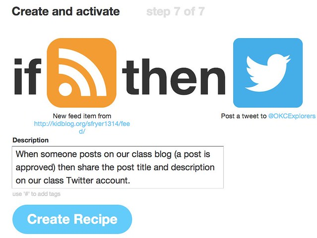 IFTTT - Tweet after blogging