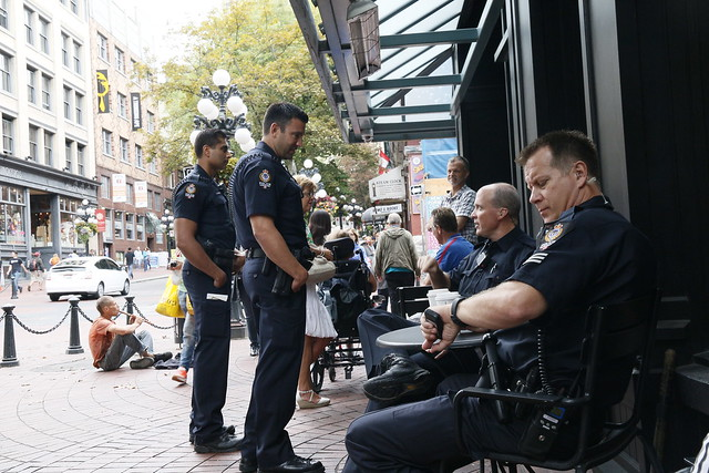 Vancouver police @ Starbucks, Gastown, Vancouver