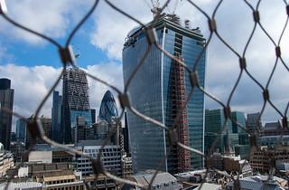 Vue depuis le sommet de The Monument - 20 Fenchurch Street Building et le quartier de La City