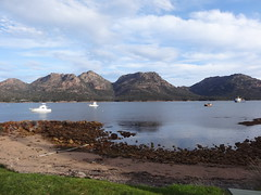 The Hazard Mountains, where we had hiked, on the Freycinet Peninsula as seen from the north end of Oyster Bay
