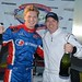 Josef Newgarden and Mark Dismore, Jr. celebrate their victory in the 2013 RoboPong 200