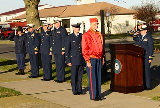 CAPE MAY, N.J. - A Coast Guard recruit and a member of the Marine Corps League participate in a Veterans' Day Ceremony here Nov. 11, 2013. Members of the training center staff will be attending numerous events in the region to help the community remember the service and sacrifice of former and current servicemembers. Coast Guard photo by Chief Warrant Officer Donnie Brzuska.