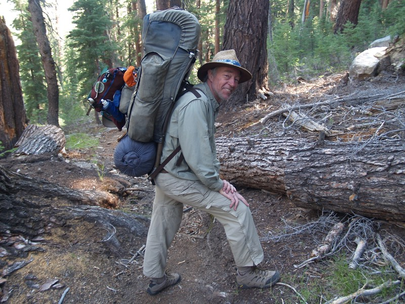 Me, carrying some extra weight (part of Vicki's gear) while climbing up out of Virginia Canyon