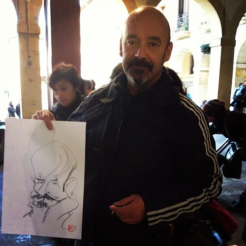 Sketching caricatures on sunday by josu maroto