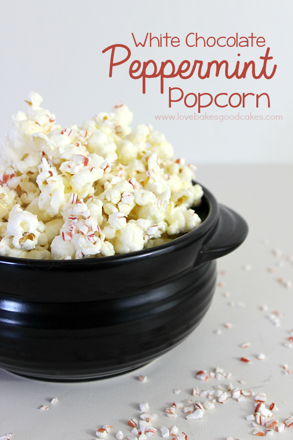 White Chocolate Peppermint Popcorn in a black bowl.