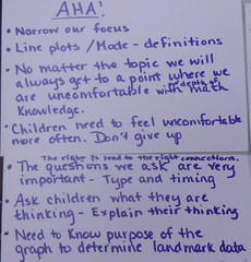 Aha moments described on the cards through the reflection discussion at the end of the first cycle. (Jan. 2012, Gr 3-4)