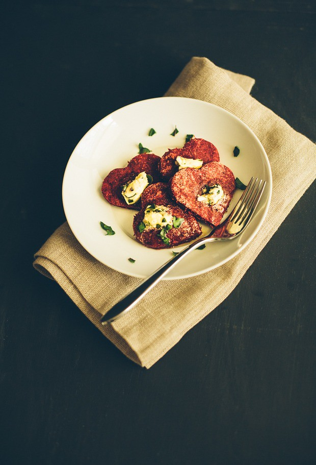 Heart Beet Patties with Pecorino Garlic Butter & Pesto
