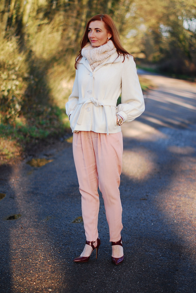 Winter white, blush pink & pointed heels