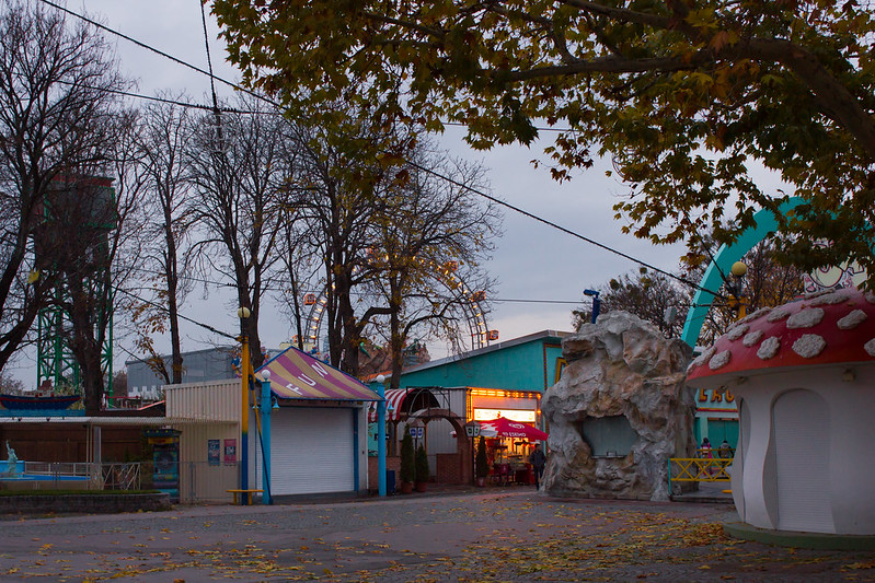 Saturday, November 23: We had a walk around Vienna's weird Prater Park. It was half creepy empty and half super loud music, flashing lights, and haunted houses.