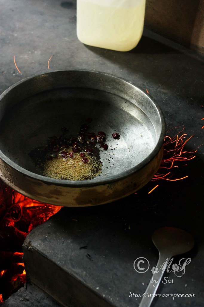 For Potato Bhaaji or Poori Masala, start by tempering of mustard seeds ...