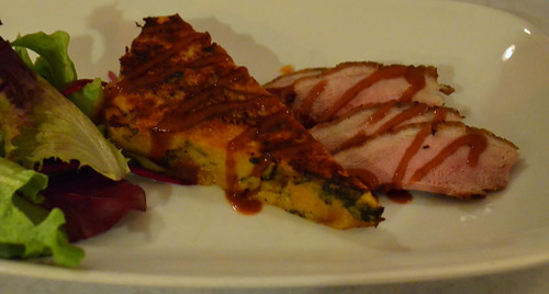 Duck Breast with Butter Squash and Onion Bread Pudding