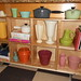 My new kitchen shelving with my nestest pottery finds.
