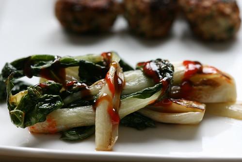 Turkey meatballs with soy-ginger glaze & griddled pak choi