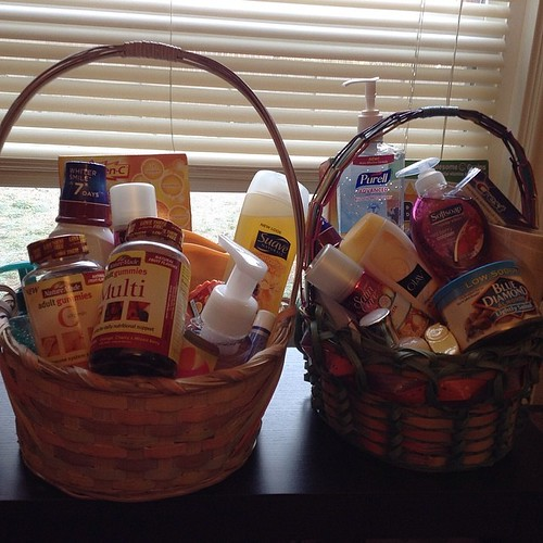 I made up stock pile Easter baskets for my aunt & grandma again this year