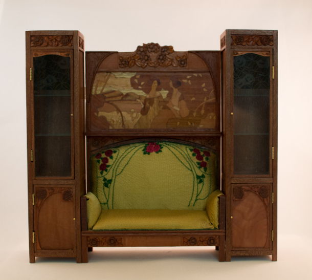 Art nouveau sofa and cabinets