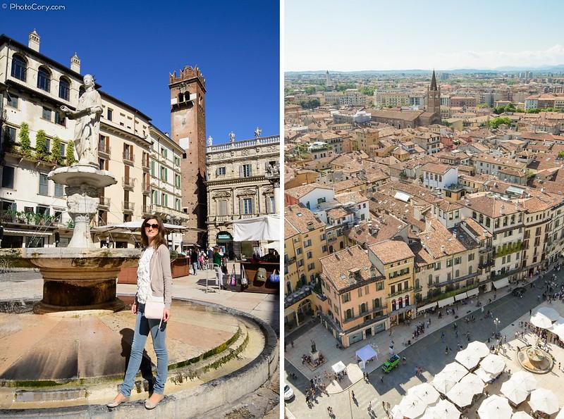 Piazza Erbe and View from Lamberti tower, Verona