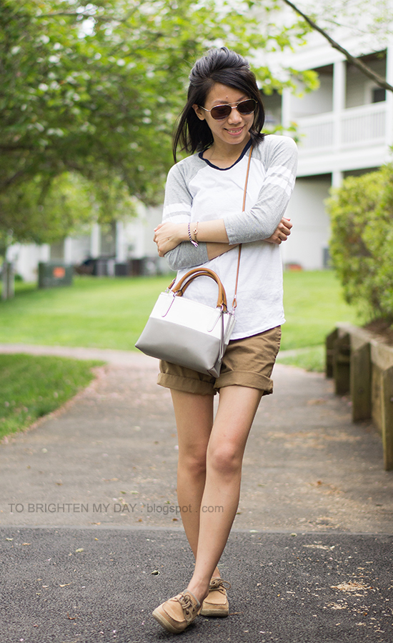 baseball tee, olive chino shorts, colorblock crossbody bag
