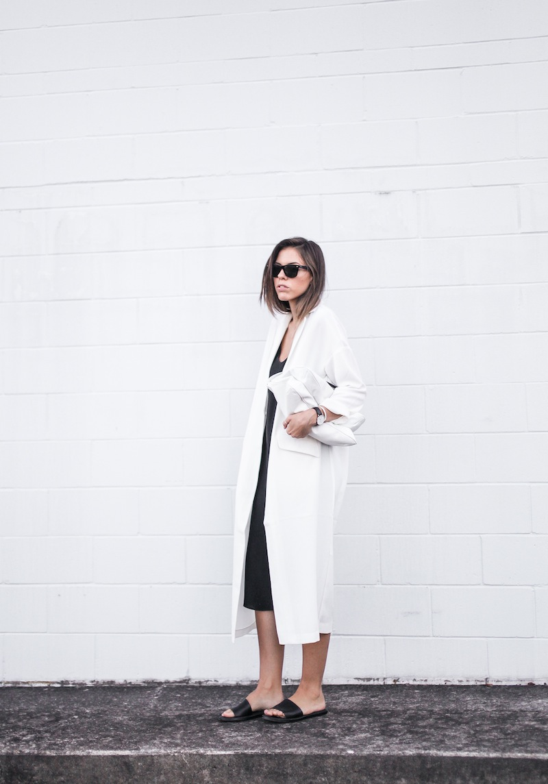 modern legacy blog street style off duty ASOS Duster Coat Common Projects slide sandals Topshop Boutique midi silk cami dress Zara leather clutch monochrome black white blogger balayage hair tuck oversized minimalist (2 of 8)