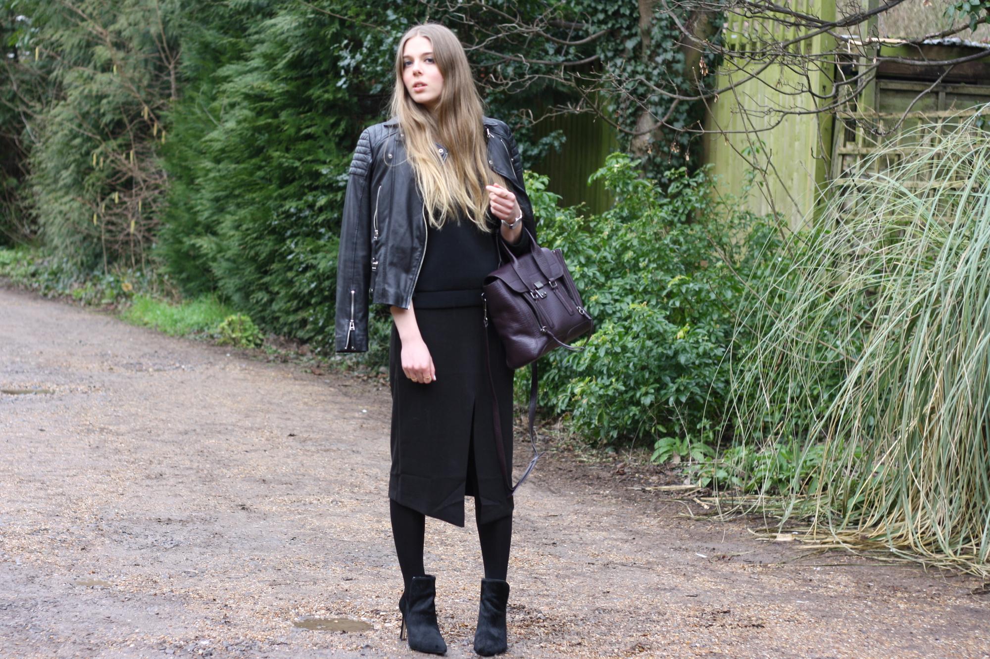 ASOS black split front skirt
