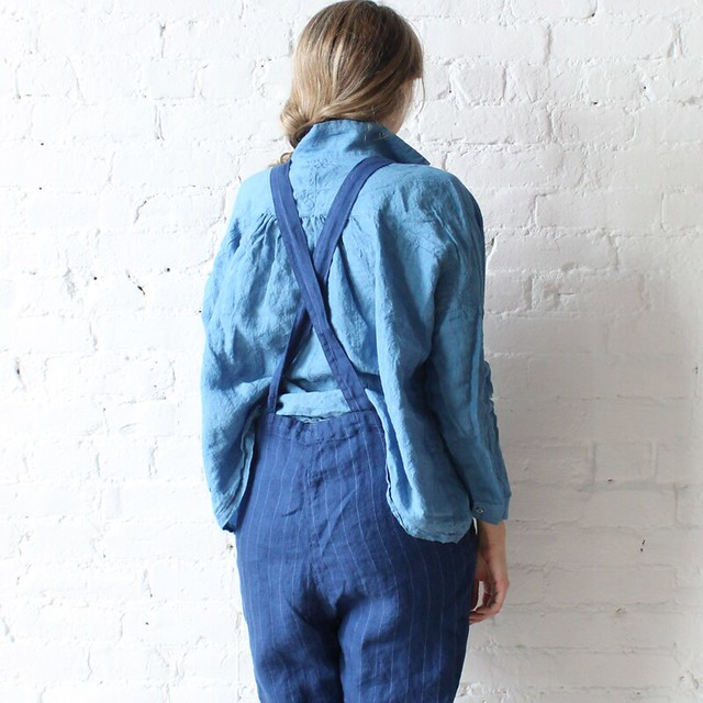 Ichi Antiquites Overalls & Gather shirt