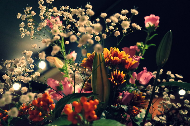 Flowers at the bar.